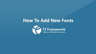 T3 Framework video tutorials - How to add new web fonts and Google fonts(In this video tutorial, you will learn how to add new web fonts and Google fonts for templates developed with T3 Framework. Then you will learn how to change ..., 2014-07-08T06:53:29.000Z)