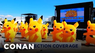 conan s 2016 election coverage pikachu dance party edition conan on tbs