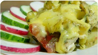 Картофельная запеканка с куриным филе в духовке.