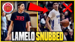 The REAL Reason LAMELO BALL Was SNUBBED From The MCDONALDS' All American Game!
