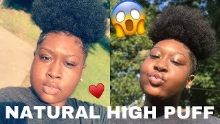 HOW TO: Natural High Puff Tutorial On Short Natural 3c/4a Hair‼️😱  (speed Tutorial)