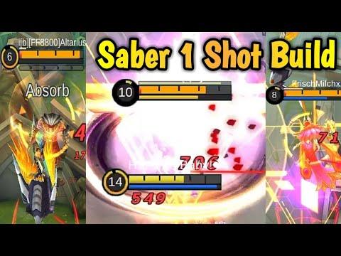 Saber One Shot Build & Emblem Set 🔫   Mobile Legends:  Bang Bang