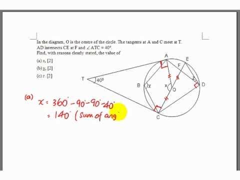 GCE O-Level E-Maths: Angle Properties of Circle Question