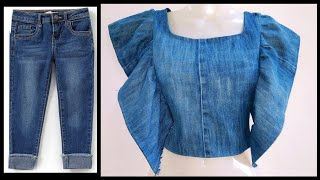 DIY OLD JEANS INTO FRONT RUFFLE TOP