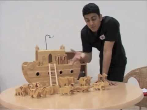 Noahs Ark Set With Animals In Solid Wood