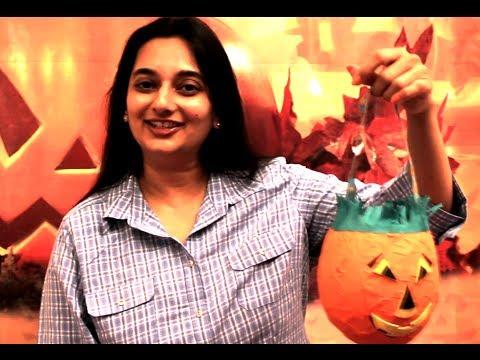 How To Make Jack-O-Lantern Candy Basket (Halloween Special)   DIY