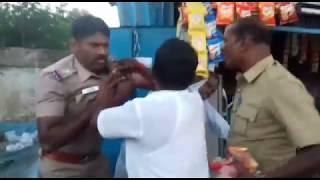 POLICE BEATEN PETTI SHOP - TAMILNADU POLICE AT THIRUVADANAI