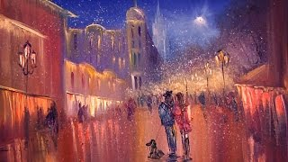 """Видео урок """"Как нарисовать пейзаж ночной город зимой"""""""