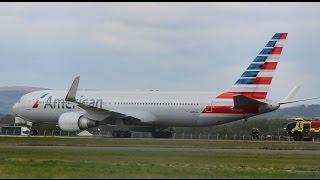 Hard & Loud Emergency Landing by American Airlines Boeing 767-300ER at Glasgow Airport