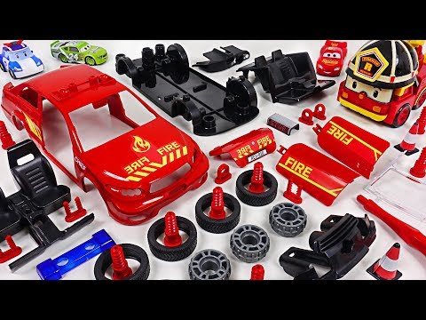 Dinosaur set fire to store! Robocar Poli! Make a Fire Chief Car with Model Assembly Kit! #DuDuPopTOY