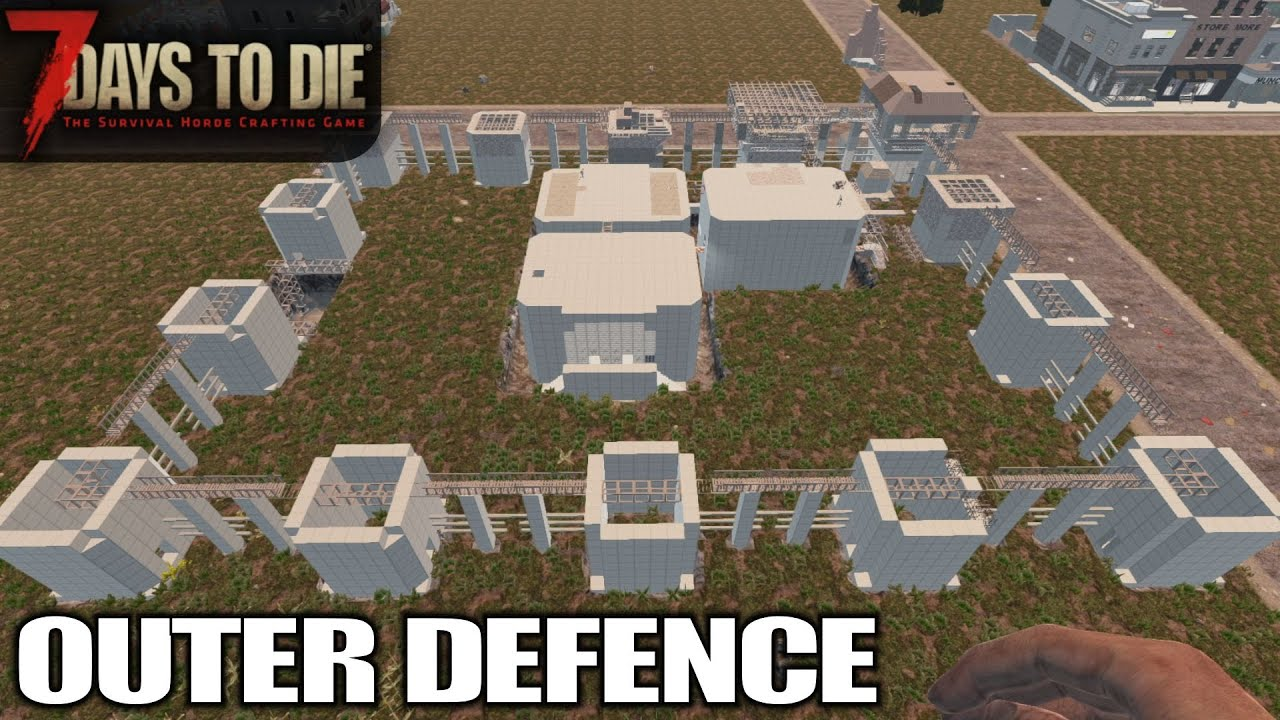 Outer Defence Fence Perimeter 7 Days To Die Alpha 18 Gameplay E75 Youtube