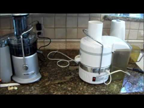 Juicers - Hurom Slow Juicer vs. Breville Centrifugal Juicer - Juicing demo FunnyCat.Tv