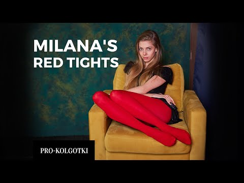 Runway model Milana play with red tights 2020-03(2)