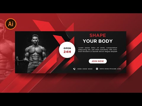 Illustrator Tutorial | Web Banner Design  (Fitness Gym) thumbnail