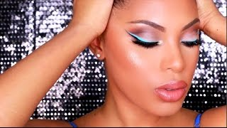 Ice Blue Winged Liner Makeup Tutorial