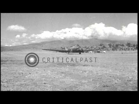 U.S. Aircraft operations at Angaur Island, Palau, during World War Two HD Stock Footage