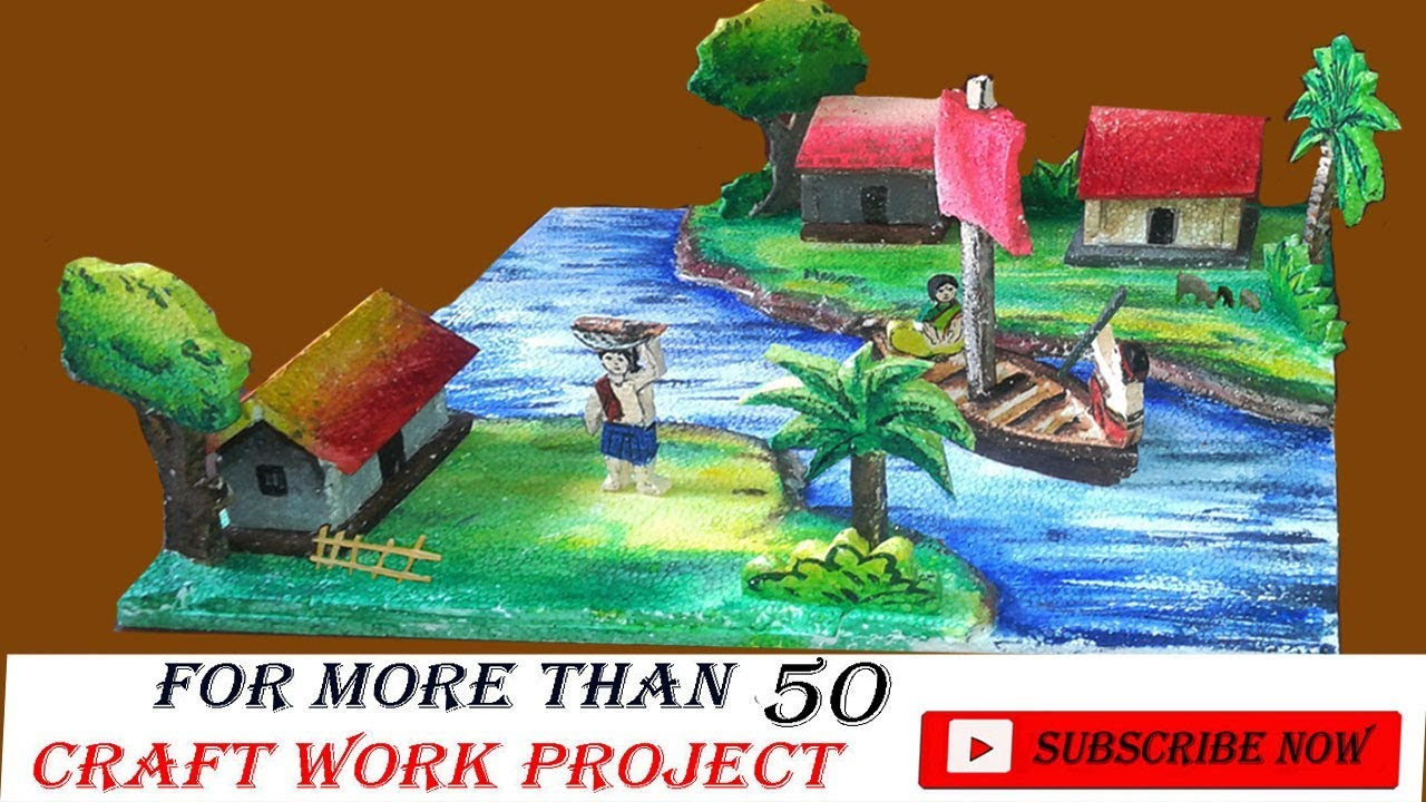 Download thermocol village model / thermocol village project