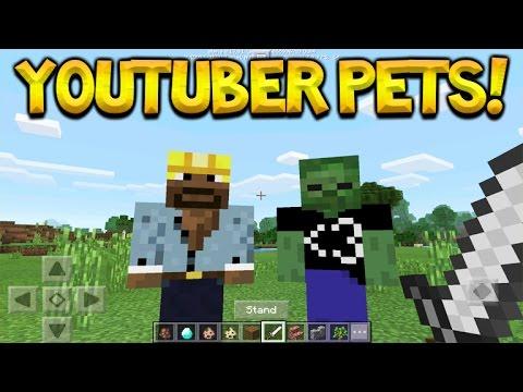 YOUTUBER PETS! Minecraft Pocket Edition - Youtuber Pets Addon + Behaviour Pack (Pet JackFrostMiner)
