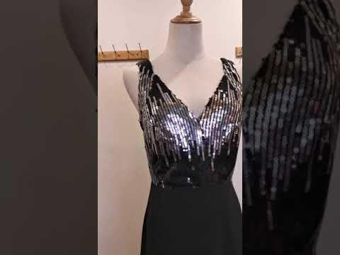 Elegant V Neck Sequins A Line Evening Gown