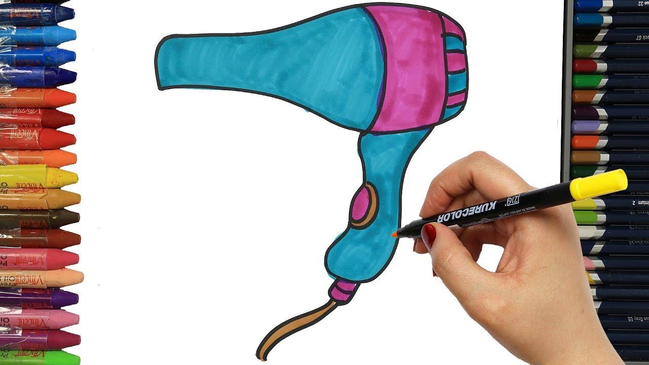 Saç Kurutma Makinesi Nasıl çizilir çocuklar Için Eğlenceli Boyama