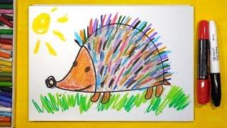 Как нарисовать цветного Ёжика, Урок рисования для детей от 3 лет