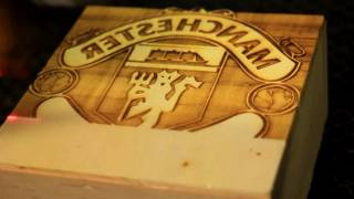 Laser Engraved Manchester United Wood Stamp by our 6040 100w Laser Cutter