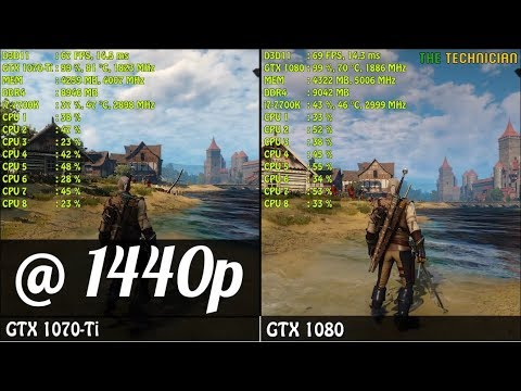 GTX 1070 Ti vs  GTX 1080 @ 1440p | Witcher 3 - Ultra Settings