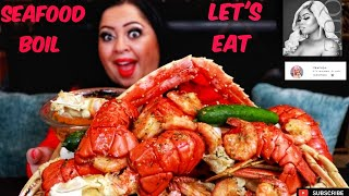 SEAFOOD BOIL | EATING WITH SHADIA | KING CRAB LEGS + PRAWNS + LOBSTER TAILS + SEAFOOD BOIL MUKBANG