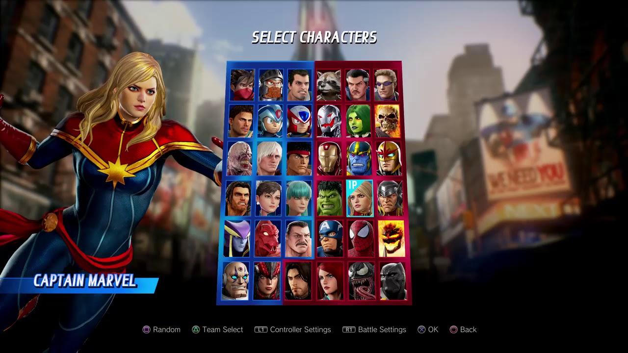 Marvel Vs Capcom Infinite All characters select screen