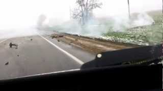 Russian Dash Cams - Head on crash causes a small explosion