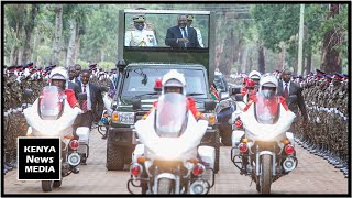 uhuru kenyatta arrival at passing out parade of kdf in eldoret
