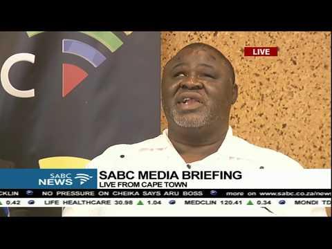 SABC board chairperson, Prof Mbulaheni Maguvhe addresses the media