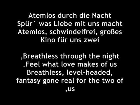 Helena Fischer- Atemlos Lyrics+ english translations