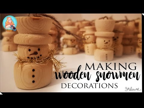 Making Snowman Tree Decorations From Scrap Wood    Woodturning Beginner    Christmas Craft DIY