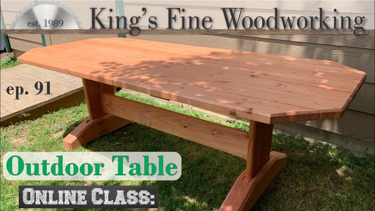 91 outdoor patio trestle table with dimensional lumber from big box store