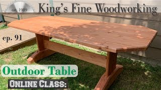 91 - Outdoor Patio Trestle Table with Dimensional Lumber from Big Box Store