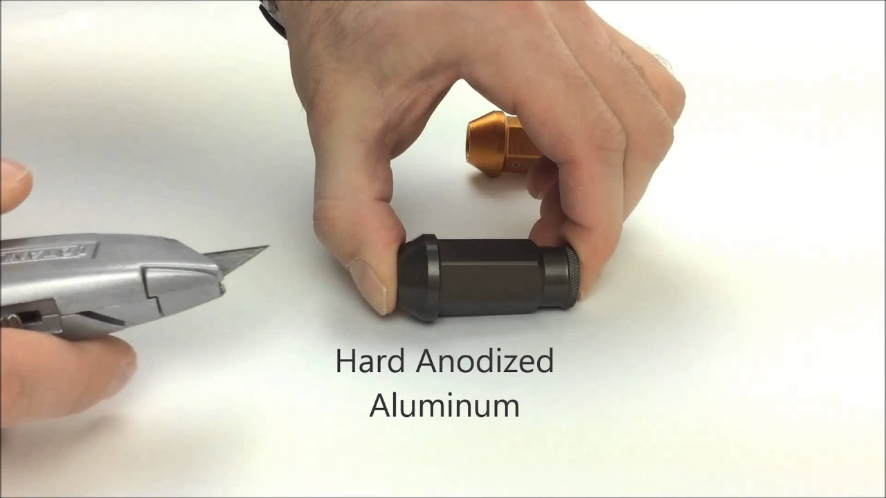Hard anodized vs standard anodized lug nuts comparison scratch test hard anodized vs standard anodized lug nuts comparison scratch test solutioingenieria Choice Image