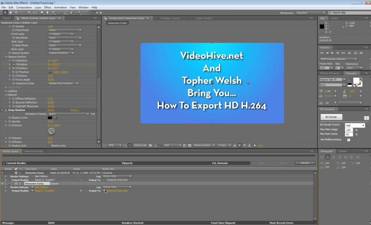 How to Export HD H.264 Video in AE - YouTube