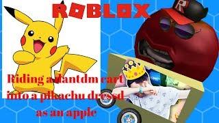 Roblox-Riding un chariot de dantdm dans un pikachu utilisant un contume de pomme