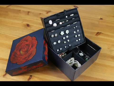 DIY 2018  - Cardboard upcycling Jewellery box with a shabby chic decoupage lid. Crafts