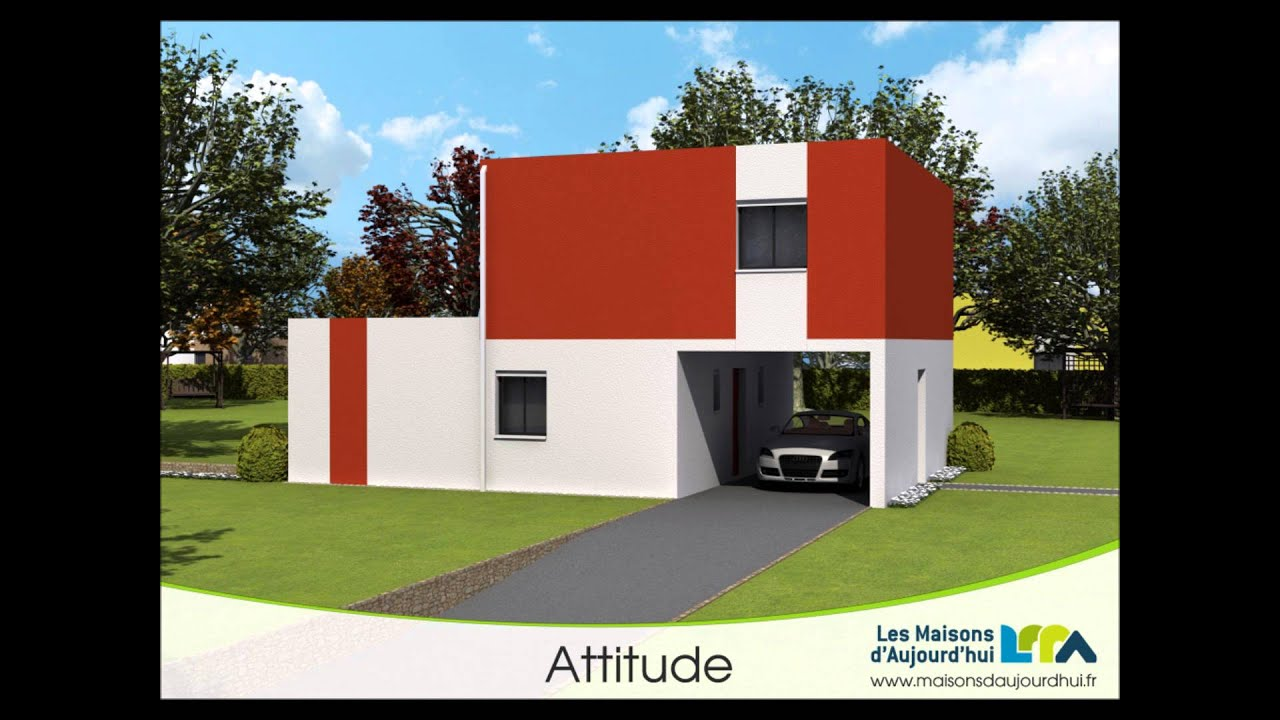 Plan de maison contemporaine demi niveau bbc rt2012 attitude youtube - Photos de maison contemporaine ...