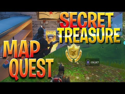 FREE Battle Stars Location! Snobby Shores Secret Treasure Hunt - Fortnite Treasure Quest Challenge