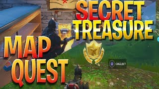 FREE Battle Stars Location! Snobby Shores Secret Treasure Hunt - Fortnite Treasure Quest Challenge