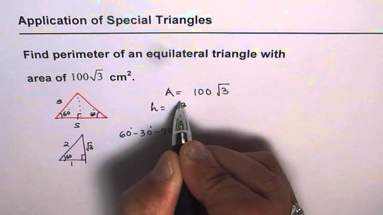 Area of equilateral triangle given find perimeter youtube area of equilateral triangle given find perimeter ccuart Choice Image