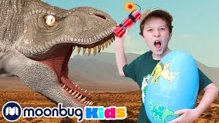 Dinosaur Surprise Egg Hunt with Dynamite | Jurassic Tv | Dinosaurs and Toys | T Rex Family Fun