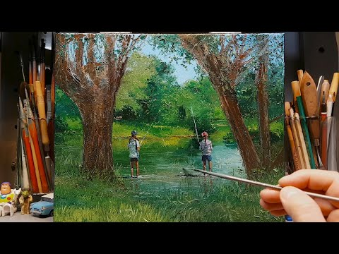 River Sisters Fishing - Oil Painting - Palette Knife | Brush - Gum Trees Dusan