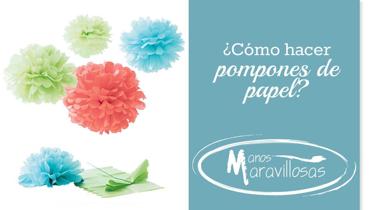 C mo hacer pompones de papel youtube - Como hacer pompones ...