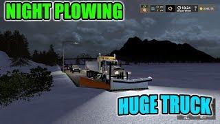 SNOW PLOWING AT NIGHT | HUGE STORM | 3 FEET OF SNOW | HUGE PLOW TRUCK | FARMING SIMULATOR 17