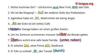 A1, A2, B1 Übungen - Deutsch lernen - Präpositionen, Dativ oder Akkusativ? Wechselpräpositionen, wo?