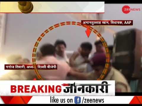 AAP MLA Amanatullah Khan pushes Manoj Tiwari during inauguration of Delhi's Signature Bridge
